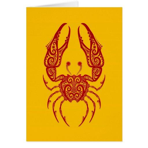 Zodiaco rojo complejo del cáncer en amarillo tarjeta de felicitación