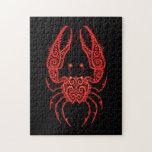Zodiaco rojo complejo del cáncer en negro puzzle con fotos