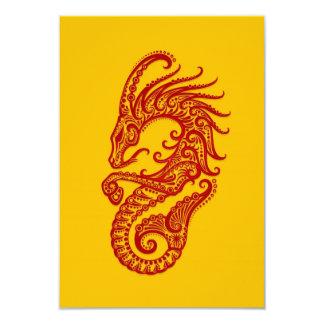 """Zodiaco rojo complejo del Capricornio en amarillo Invitación 3.5"""" X 5"""""""