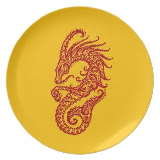 Zodiaco rojo complejo del Capricornio en amarillo Platos De Comidas