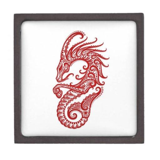 Zodiaco rojo complejo del Capricornio en blanco Cajas De Regalo De Calidad