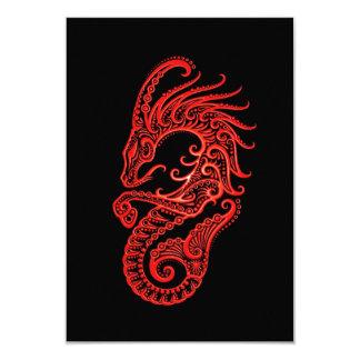 """Zodiaco rojo complejo del Capricornio en negro Invitación 3.5"""" X 5"""""""