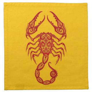 Zodiaco rojo complejo del escorpión en amarillo servilletas de papel