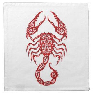 Zodiaco rojo complejo del escorpión en blanco servilletas de papel