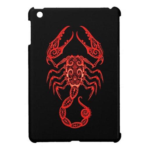 Zodiaco rojo complejo del escorpión en negro