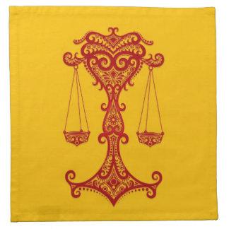 Zodiaco rojo complejo del libra en amarillo servilletas imprimidas