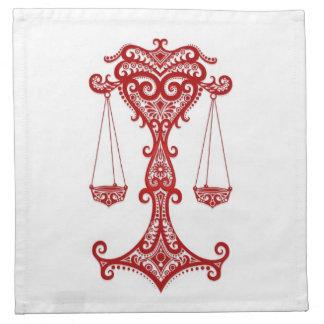 Zodiaco rojo complejo del libra en blanco servilleta