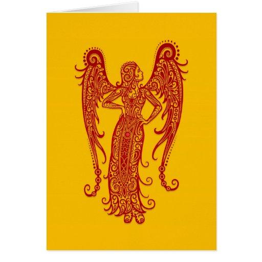 Zodiaco rojo complejo del virgo en amarillo tarjeta de felicitación