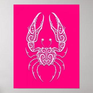 Zodiaco rosado complejo del cáncer póster