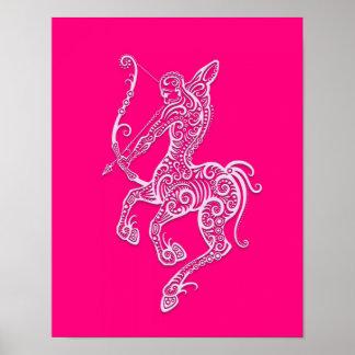 Zodiaco rosado complejo del sagitario posters