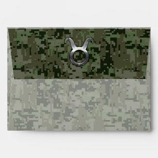 Zodiaco Sybol del tauro en el verde verde oliva Sobre