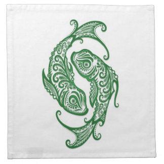 Zodiaco verde complejo de Piscis en blanco Servilleta