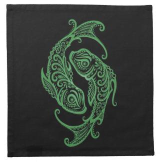Zodiaco verde complejo de Piscis en negro Servilleta De Papel