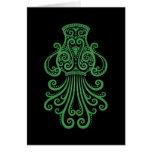 Zodiaco verde complejo del acuario en negro felicitaciones