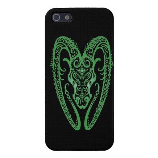 Zodiaco verde complejo del aries en negro iPhone 5 protectores
