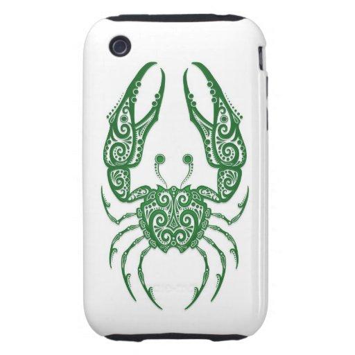 Zodiaco verde complejo del cáncer en blanco tough iPhone 3 carcasas