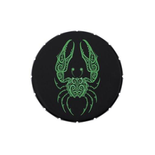 Zodiaco verde complejo del cáncer en negro latas de dulces