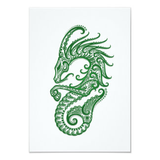 """Zodiaco verde complejo del Capricornio en blanco Invitación 3.5"""" X 5"""""""