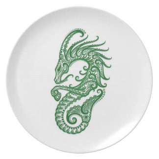 Zodiaco verde complejo del Capricornio en blanco Platos De Comidas