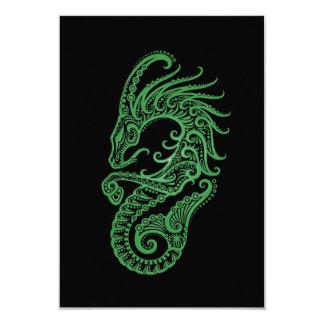 """Zodiaco verde complejo del Capricornio en negro Invitación 3.5"""" X 5"""""""