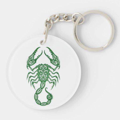 Zodiaco verde complejo del escorpión en blanco llavero redondo acrílico a doble cara