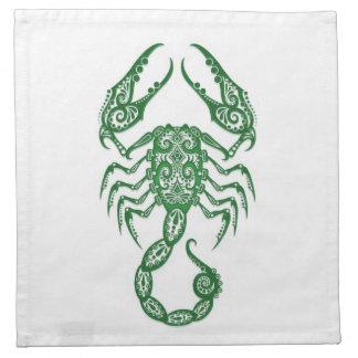 Zodiaco verde complejo del escorpión en blanco servilleta