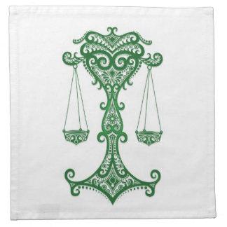 Zodiaco verde complejo del libra en blanco servilletas imprimidas