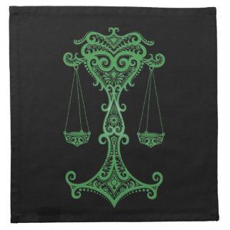 Zodiaco verde complejo del libra en negro servilleta de papel