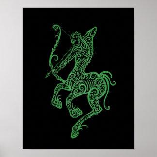 Zodiaco verde complejo del sagitario en negro posters