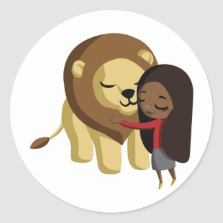 Zoe and Peanut the Lion Classic Round Sticker