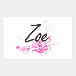 Zoe Artistic Name Design with Flowers Rectangular Sticker