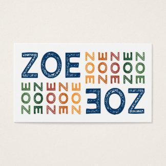 Zoe Cute Colorful Business Card
