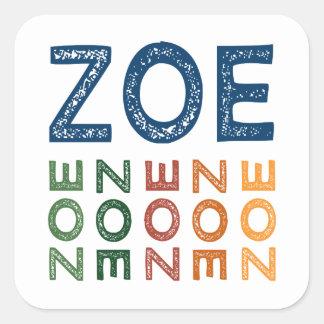 Zoe Cute Colorful Square Sticker