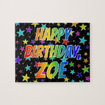 "[ Thumbnail: ""Zoe"" First Name, Fun ""Happy Birthday"" Jigsaw Puzzle ]"
