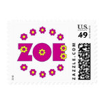Zoe Flores Pink Postage Stamps