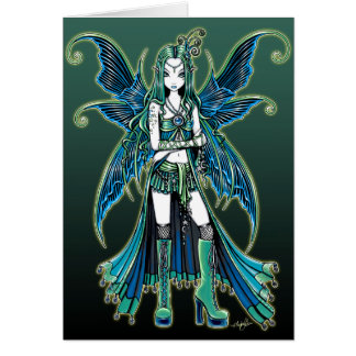 """Zoe"" Green Celetial Star Fairy Art Card"