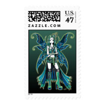 zoe, green, celestial, moon, stars, fairy, faery, fae, faerie, fairies, pixie, fantasy, myka, jelina, art, boots, tattoos, characters, Stamp with custom graphic design