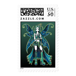 """Zoe"" Green Celetial Star Fairy Art Postage"