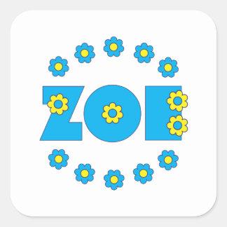 Zoe in Flores Blue Square Sticker