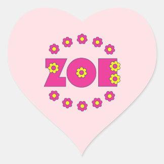 Zoe in Flores Pink Heart Sticker