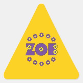 Zoe In Flores Purple Triangle Sticker