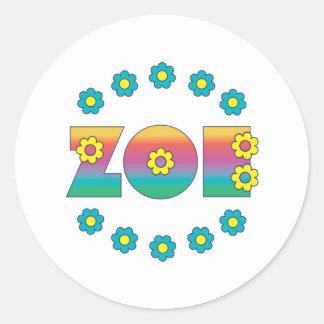 Zoe in Flores Rainbow Classic Round Sticker