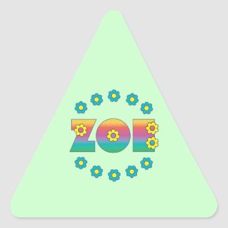 Zoe in Flores Rainbow Triangle Stickers