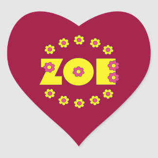 Zoe in Flores Yellow Heart Stickers