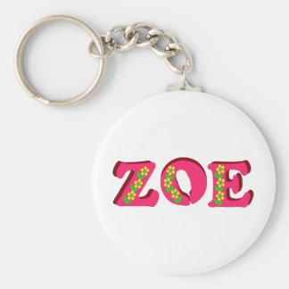 Zoe Basic Round Button Keychain