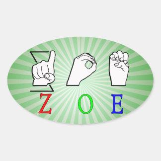 ZOE NAME SIGN ASL FINGERSPELLED OVAL STICKER