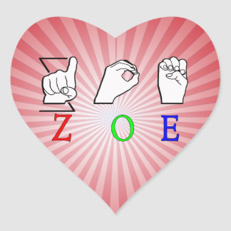 ZOE NAME SIGN ASL FINGERSPELLED STICKERS