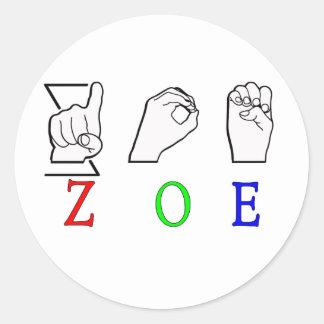 ZOE NAME SIGN ASL FINGERSPELLED STICKER