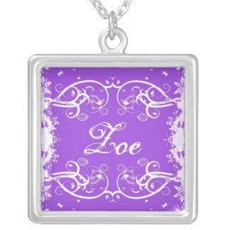"""Zoe"" on purple flourish swirls necklace"