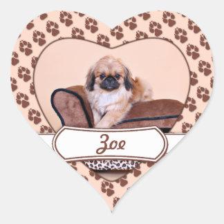 Zoe - Pekingese Heart Sticker